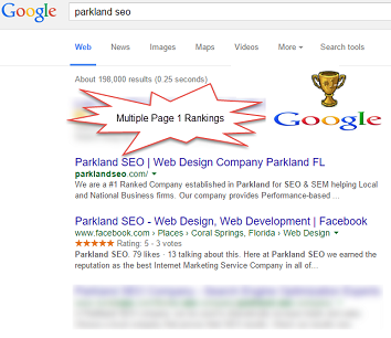 number 1 seo company in parkland fl on google